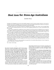 Sharp~Steel Axes for Stone-Age Australians
