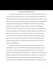 The Passage of the Affordable Care Act essay paper