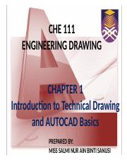 CHAPTER 1 pptx - CHE 111 ENGINEERING DRAWING CHAPTER 1 Introduction