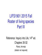 LIFS1901 2015 Fall Roster of Living Species III