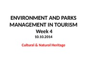 Environment and National Parks Management in Tourism - Week 4