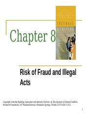 Chapter 8 - Risk of Fraud and Illegal Acts