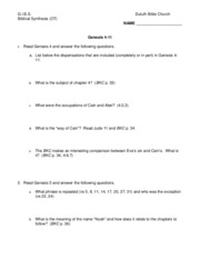 Genesis 4-11 Worksheet
