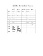 Chem 112A Office Hours