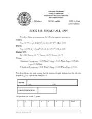 Electrical Engineering 141 - Fall 1995 - Rabaey - Final