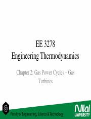 Engineering Thermodynamics - Gas Power Cycles (Gas Turbines)