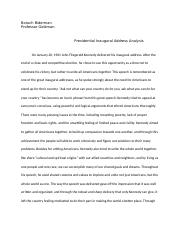 kennedy inaugural address analysis.docx