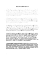 Writing Strong Philosophy Essays 1
