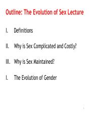 Lecture 3 (Evolution of Sex)