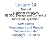 Lecture 14 Ch 6 Normal RVs