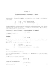 congruence and congruence classes