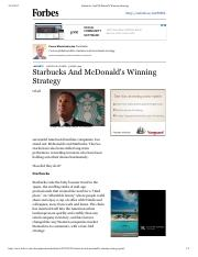 Starbucks And McDonald's Winning Strategy
