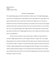 Weight lifting paper