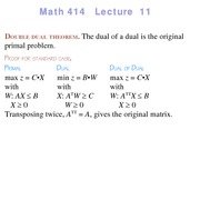 Lecture 11 on Linear Programming