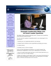 !0 Skills of Leadership