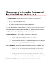 Management Information Systems and Decision