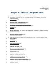 Project 2.2.5 Rocket Design and Build