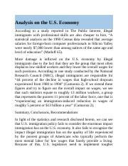 Analysis on the U.S. Economy.docx