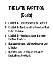 Ling111 Lecture Notes Week 5. The Latin Partition. Part I.ppt