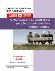 CHCAC317A Support older people to maintain their independence AG