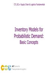 (12) Inventory Models for Probabilistic Demand - Basic Concepts