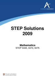 STEP 2009 Solutions
