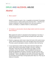 DRUG AND ALCOHOL ABUSE (Handout version)
