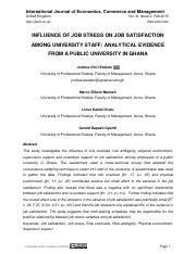 INFLUENCE OF JOB STRESS ON JOB SATISFACTION among University Staff