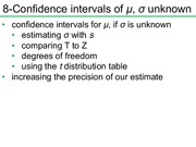 Confidence intervals of μ, σ unknown