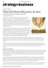 What Self-Made Billionaires Do Best
