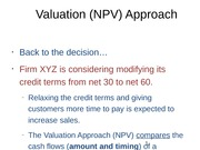 Valuation (NPV) Approach