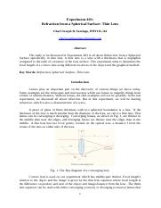 Experiment 403 - Refraction from a Spherical Surface (Thin Lens).docx
