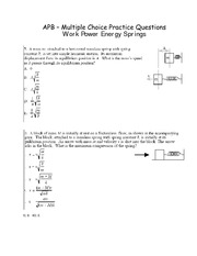 PHY107 - Multiple Choice Work Power