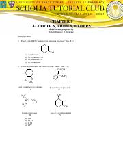 CHAPTER 8 - ALCOHOLS, THIOLS, ETHERS