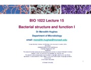 Lecture 15 (Bacterial structure and function I)