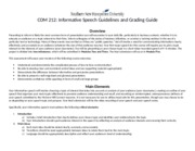 COM 212 - Informative Speech Guidelines and Rubric