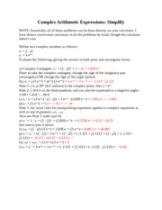 Notes - Complex Arithmetic Expressions