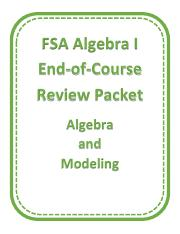 2017 MAFS A1 EOC Review Algebra and Modeling - Student Packet (1).pdf