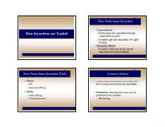 Lecture 4 - How securities are traded