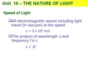 Physics 16 - The Nature of Light