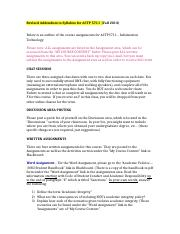 Addendum to Syllabus for ACTP 5711 (Fall 2013)