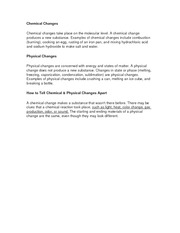 Chemical and phyiscal Changes
