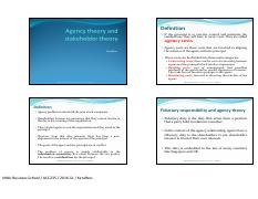 L3 - Agency theory and stakeholder theory
