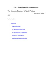 The Anarchic Structure of World Politics