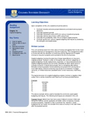 UnitVII Study guide_Capital Budgeting