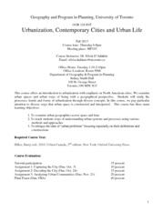 GGR 124 Urbanization, Contemporary Cities and Urban Life Thurs(1)