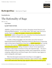 The Rationality of Rage - The New York TimesMARKS