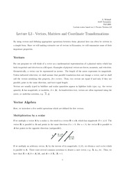 L3 Vectors, Matrices and Coordinate Transformations