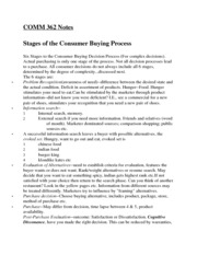COMM 362 Stages of the consumer buying process