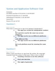 System and Application Software Unit Quiz - Completed.docx